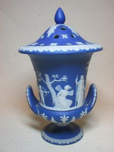 Sale D011015 Lot 28  A Wedgwood blue jasperware pot pourri and cover, (25cm high) together with a green jasperware planter (2)  - Cheffins