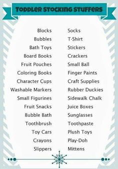 Toddler stocking stuffers rather than candy.