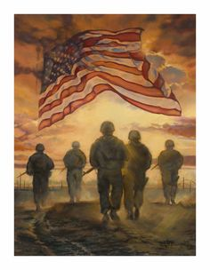 God Bless our American Heroes. (American Heroes decorative house and garden flag by Magnet Works from flagsrus features a group of soldiers walking into the sunset and an American flag flying in the sky). Military Mom, Army Mom, Military Flags, Military Quotes, Military Families, Military Service, I Love America, God Bless America, America 2