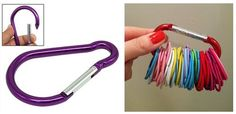 Easy Hair Tie Solution! Use a Carabiner Key Chain to organize rubber bands and ponytail holders - Home Simplicity. Price ideas on Frugal Coupon Living
