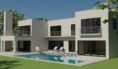 Modern 4 bedroom house plan with pictures features 4 garages. Browse modern double storey house plans pdf and 4 bedroom double storey house plans for sale. 4 Bedroom House Designs, 4 Bedroom House Plans, Two Story House Design, Modern House Design, Double Storey House Plans, House Plans For Sale, Built In Braai, House Plans South Africa, Luxury Homes Dream Houses
