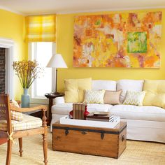 Yellow Living Room Ideas...if you like yellow, this link has lots of pics!