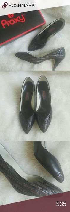 "Proxy ""erica"" Gorgeous waffle weave leather pumps in great condition. Comes with box. No flaws other than scuffing on bottom from wearing once. 3"" heel. proxy Shoes Heels"