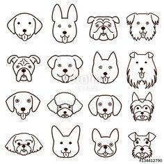 ベクター: cute dogs faces line art set点