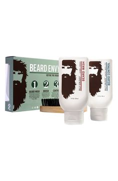 Billy Jealousy's Beard Envy Kit includes a hydrating beard wash with aloe and soy protein, an extra-firm, boar bristle brush and a styling beard control product with jojoba oil. Guaranteed to make you look like you're cut from royalty in no time. Beard Grooming Kits, Men's Grooming, Boar Bristle Brush, Beard Shampoo, Shampoo Brush, Beard Wash, Beard Look, Christmas Gift For Dad, Christmas Shopping