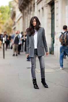 Babs doin her thang. in grey. Paris. #BarbaraMartelo