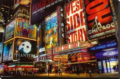 Times Square Theater District Stretched Canvas Print at AllPosters.com