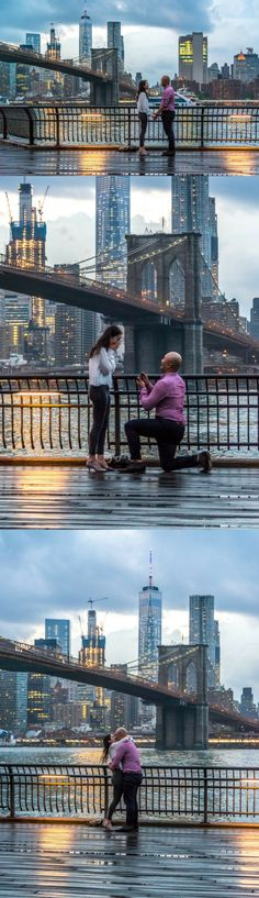 This is literally the most perfect proposal at the Brooklyn Bridge, and it was the same place they had their first kiss.