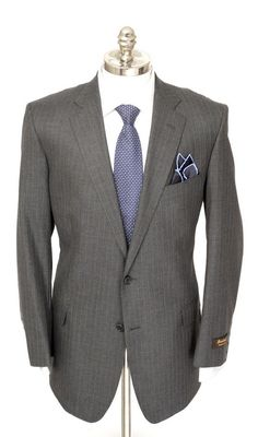 SOUTHWICK Lawrence Charcoal Pinstripe All Season Wool 2Btn Suit  |  Find yours! http://www.frieschskys.com/suits  |  #frieschskys #mensfashion #fashion #mensstyle #style #moda #menswear #dapper #stylish #MadeInItaly #Italy #couture #highfashion #designer #shopping