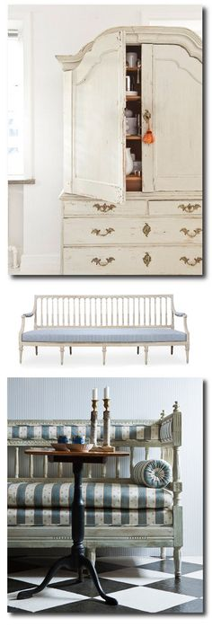 Gustavian and Scandavian Country Style - Spectacular pieces.love the upholstery fabric on bench. Swedish Cottage, Swedish Decor, Swedish Style, Swedish Interior Design, Swedish Interiors, Scandinavian Interior, Shabby, European Furniture, Furniture Design