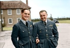 RAF pilots-Squadron Leader Douglas Bader (1910 - 1982), commanding No. 242 (Canadian) Squadron, with Major Alexander 'Sasha' Hess (1898 - 1981), CO of No. 310 (Czechoslovak) Squadron, outside the Officers Mess building, Duxford, Cambridgeshire. October 1940.