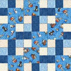 Dogs all over blue pre-cut quilt kit are prefect for the dog lover in your life. There are different dog breeds all over a light blue background dotted with dog paw prints. Some dogs sitting, lying on