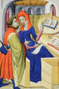 Boccaccio, De mulieribus claris, BNF, pocz XV w. Medieval Books, Medieval World, Medieval Manuscript, Medieval Town, Medieval Art, Illuminated Manuscript, Medieval Fashion, Medieval Clothing, Historical Clothing