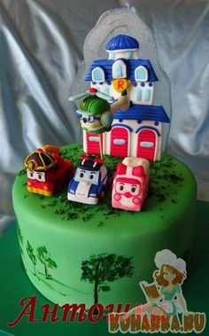 Robocar Poli, Summer Food, Summer Recipes, Birthday Cakes, Fondant, Cake Decorating, Birthdays, Party, Pastries