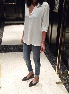 White shirt + jeans