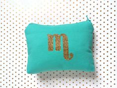 Initial Cosmetic Bag // Aqua & Gold Glitter - Customize Bag Color to Match your wedding!  Handcrafted in Queens NY  www.shopsandrasmith.com