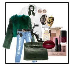 """""""Casual after party getup"""" by regine-velasquezs-lutong-bahay on Polyvore featuring Stila, Rolex, Harry Winston, Hermès, Diane Von Furstenberg, Bebe, Ray-Ban, Ron Hami, Gucci and Maybelline"""