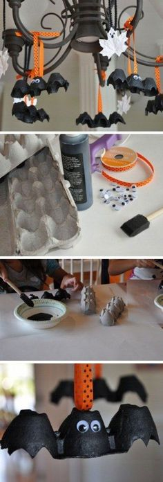 Egg Carton Bats and Leaf Ghosts Click Pic for 27 DIY Halloween Decorating Ideas for Kids Easy Halloween Party Decor Ideas for Kids Homemade Halloween Decorations, Halloween Designs, Halloween Crafts For Kids, Halloween Birthday, Halloween Activities, Halloween Projects, Halloween Party Decor, Holidays Halloween, Halloween Diy