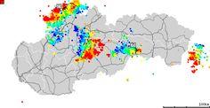 Mapa wyładowań atmosferycznych na obszarze Słowacji