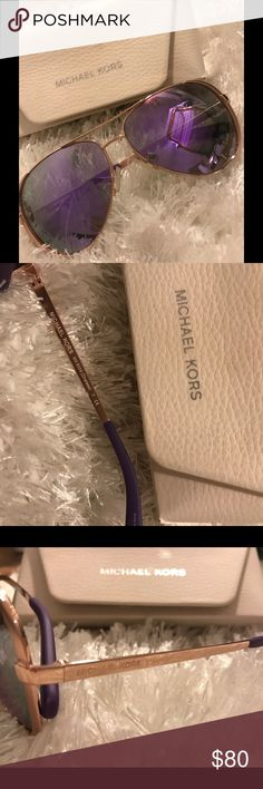 Michael Kors Aviator Sunglasses Lightly used Michael Kors Aviator Sunglasses Rose Gold/Purple style number MK5004 worn twice **comes with cleaning cloth and case** Michael Kors Accessories Sunglasses