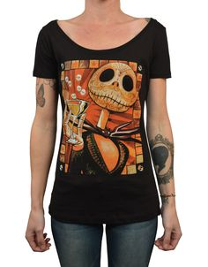 Women's Jack Celebrates by Mike Bell Tattooed Halloween Scoop T Shirt