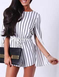 2018 Women Elegant O-Neck Long Sleeve Striped Rompers Formal Elastic Waistline Playsuits Sexy Office Lady Work Jumpsuit Long Sleeve Playsuit, Jumpsuit With Sleeves, Sexy Outfits, Casual Outfits, Jumpsuits For Sale, Jumpsuits For Women, Shorts Sexy, Women's Shorts, Striped Playsuit