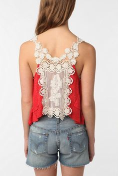 ANTHROPOLOGIE Staring At Stars Crochet-Lace Racer Back Cropped Tank Top XS 0 2 #StaringatStars #TankCami #Casual