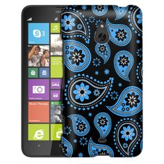 Nokia Lumia 1320 Paisleys Cute Blue on Black Slim Case