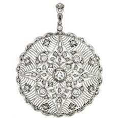 Edwardian Circular Openwork Diamond Pendant with Scalloped Edges