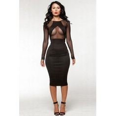 USD11.99Cheap Sexy O Neck Long Sleeves Mesh Hollow-out Patchwork Black Polyester Sheath Mini Bandage Dress