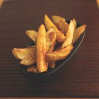 Russet Oven Fries  1.  Preheat oven to 400 degrees 2.  Brush with egg white and bake for 20 minutes.