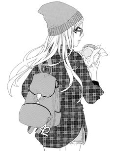 Cute outfit of the plaid shirt, beanie, small backpack, and the glasses.
