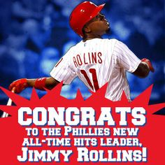Jimmy Rollins is now the all-time Phillies hit leader!