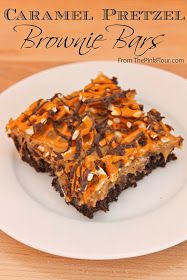 CARMEL PRETZEL BROWNIES  Bake 1 box brownie mix.  Cool.  Spread caramel dip on top.  Top with crushed pretzels.  Drizzle with melted chocolate chips or sprinkle with mini chocolate chips.  Cool until hard.  Store in airtight container or refrig.