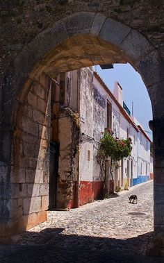 Entrance to the old part of Vila Viçosa. This part is protected by impressive castle walls - Alentejo, Portugal.