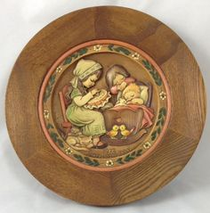 ANRI Wooden Handcarved Wall Plaque Mother's Day Plate Italy 1972