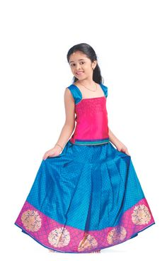 43d455d244051a Traditional Pattu Pavadai Set   Frocks for Baby Girls by DhikaClothing
