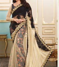 Buy black embroidered art silk saree with blouse party-wear-saree online