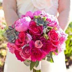 Ranunculus & roses in fuchsia, light pink and hot pink with sporadic succulents. #FebruaryWeddings #WW