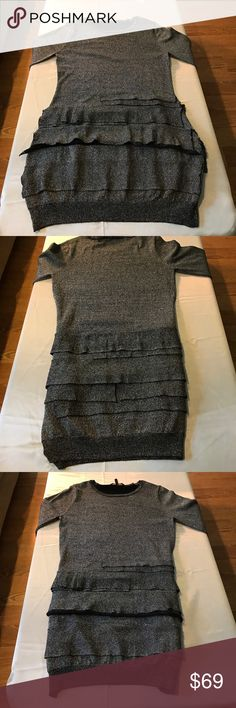 BCBGMaxAzria Sparkle Tiered Sweater Dress Sz L Stunning black with silver sparkle. Perfect condition. No stains,flaws or defects. Stretch. Size L BCBGMaxAzria Dresses Long Sleeve