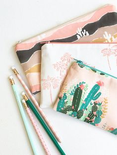 School Supplies, Palm Springs Zipper Pouch, Back to School Organizer Bag, Kids, Teens, College Students