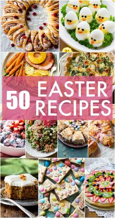 50 Easter menu recipes including breakfast eggs brunch easy Easter side dishes dinner Easter ham Easter desserts and homemade Easter candy! Easter Appetizers, Easter Dinner Recipes, Brunch Recipes, Easter Desserts, Egg Recipes, Easter Meal Ideas, Yummy Recipes, Dishes Recipes, Easy Easter Recipes