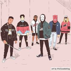 a group of thugs By Wizzadaking Character Concept, Character Art, Concept Art, Character Illustration, Illustration Art, Samourai Tattoo, Photographie Street Art, Art Japonais, Dope Art