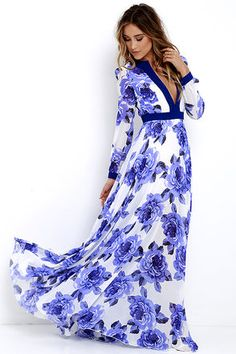 Blossom Buddy Blue Floral Print Maxi Dress at Lulus.com!