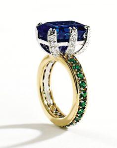 Lot 138. 18 Carat Gold, Platinum, Sapphire, Tsavorite Garnet and Diamond Ring, Schlumberger for Tiffany & Co. Est. $125/175,000