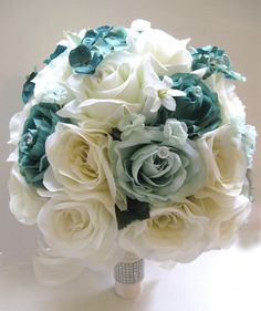 17 pc Wedding Bouquet Bridal Silk flowers TEAL MINT Green Cream Decorations #yesssido #Wedding #FlowersBouquets