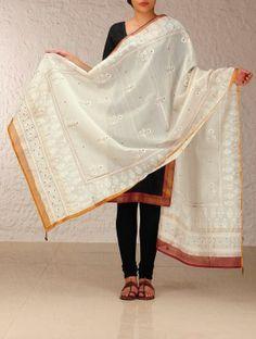 Jasmine Aari-Embroidery Maheshwari Dupatta
