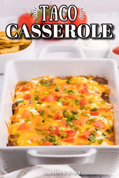 Taco Casserole - A fun twist on Taco Tuesday! This easy casserole has all the ingredients we love about tacos, baked together in one convenient baking dish – quick to make and quick to clean up!