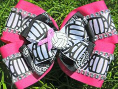 Dig Pink Volleyball Pink Ribbon Breast Cancer Awareness Hair Bow on Etsy, $7.00