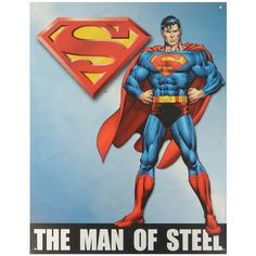 Man of Steel Superman Vintage Metal Wall Decor (Blue) ($27) ❤ liked on Polyvore